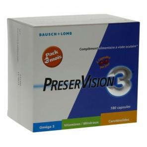 PRESERVISION 3 - Complément alimentaire à visée oculaire - Pack 3 mois - 180 capsules