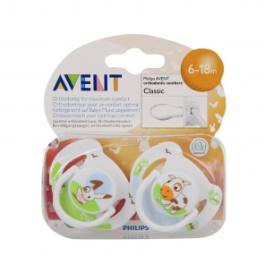 PHILIPS AVENT - Sucettes orthodontiques - Classic - Animaux 6/18 mois - 2 sucettes