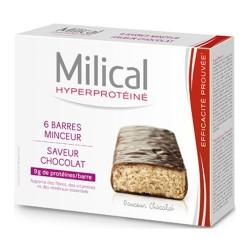 MILICAL Hyperprotéiné - 6 barres minceur - Saveur chocolat
