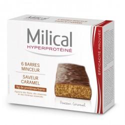 MILICAL - Barres Minceur Hyperprotéinées Caramel - 6 barres