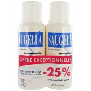 SAUGELLA - Dermoliquide - Soin lavant doux - Toilette intime et corporelle - 2 x 250ml