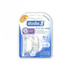 DODIE - Initiation+ 2ème âge - Duo de tétines rondes 3 vitesses Anti-colique - 3 Débit rapide - Col large - 6 mois et plus