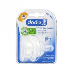 DODIE - Initiation+ 2ème âge - Duo de tétines rondes 3 vitesses Anti-colique - 4 Liquide épais - Col large - 6 mois et plus