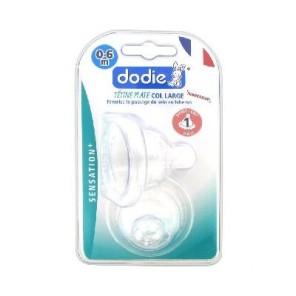 DODIE - Sensation+ 1er âge - Duo de tétines plates Anti-colique - 1 Débit lent - Col large - 0 à 6 mois