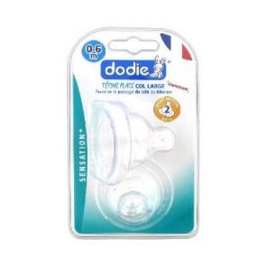 DODIE - Sensation+ 1er âge - Duo de tétines plates Anti-colique - 2 Débit moyen - Col large - 0 à 6 mois
