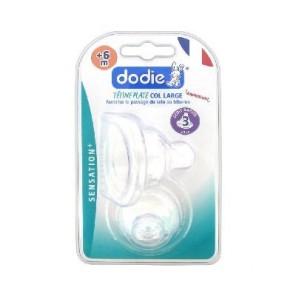 DODIE - Sensation+ 2ème âge - Duo de tétines plates Anti-colique - 3 Débit rapide - Col large - 6 mois et plus
