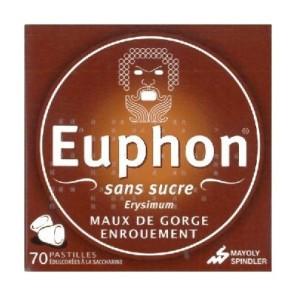 EUPHON - Pastilles maux de gorge et enrouement - Sans sucre - 70 pastilles