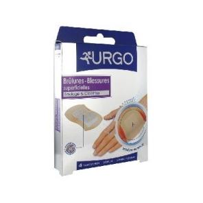 URGO - Brûlures et blessures superficielles - 4 pansements stériles - Grand format 7,3 x 4,5cm