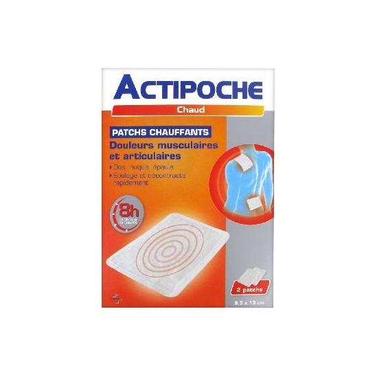 ACTIPOCHE - Patchs chauffants - Douleurs musculaires et articulaires - 2 patchs 9,5x13CM