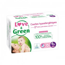 LOVE & GREEN - Couches hypoallergéniques - Taille 4+ - 42 couches