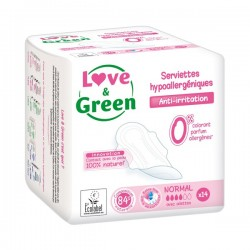 LOVE & GREEN - Serviettes hypoallergéniques - Anti-irritation - Normal - 14 serviettes