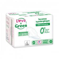 Love & green Serviettes hypoallergéniques anti-irritation super paquet de 12