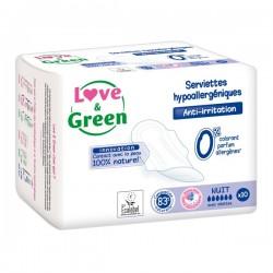 Love & Green Serviettes hypoallergéniques anti-irritation nuit paquet de 10