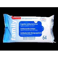 ASSANIS - Family - Lingettes antibacteriennes - 100% biodégradable - 64 lingettes