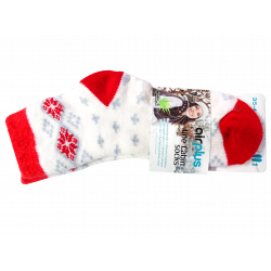 AIRPLUS - Aloe cabin socks - Blanches motifs rouges et gris - Taille 35-41