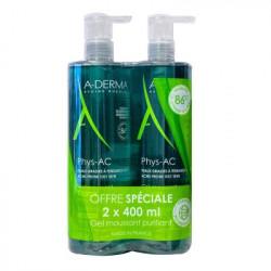 A-DERMA - Phys-ac - Gel moussant purifiant - Peaux à tendance acnéique - Duo 2x400ml