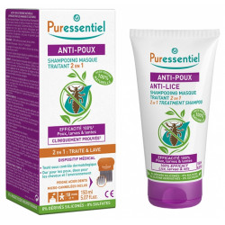 PURESSENTIEL - Anti-poux - Shampooing masque traitant 2 en 1 - 150ml + peigne