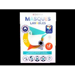 KOSSEM - Masques lavables - Taille enfants - Noirs - 50 lavages - x2