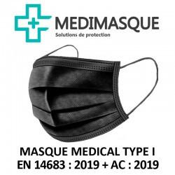 MASQUES DE PROTECTION - CHIRURGICAUX - NOIR - BOITE DE 50