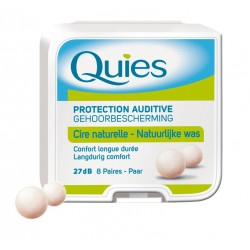 QUIES - Protection auditive 27 dB - Cire naturelle - 8 paires