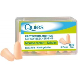 QUIES - Protection auditive 35dB - Mousse confort - Couleur chair - 3 paires