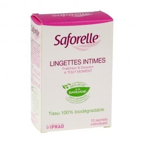 SAFORELLE - Lingettes intimes - Fraîcheur et douceur à tout moment - 10 lingettes