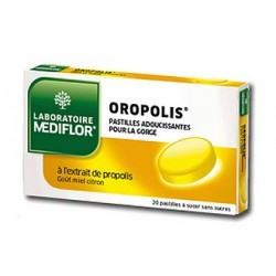MEDIFLOR - Oropolis - Pastilles adoucissantes pour la gorge - Goût miel citron - 20 pastilles